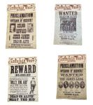 Set Of 4 Wanted Posters